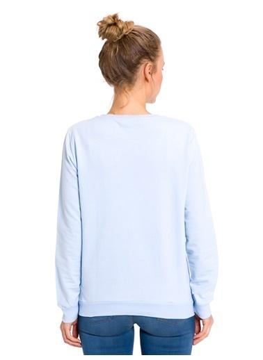 LC Waikiki Baskılı Sweatshirt Mavi